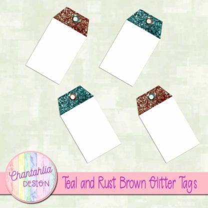 teal and rust brown glitter tags