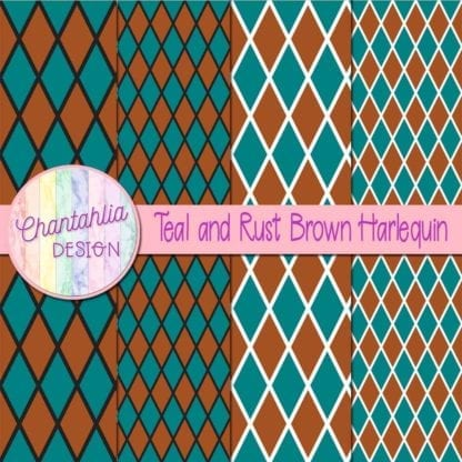free teal and rust brown harlequin digital papers