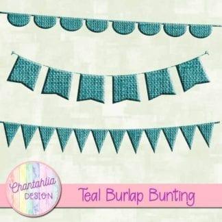 free teal burlap bunting