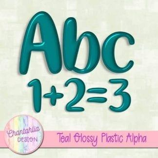 free teal glossy plastic alpha
