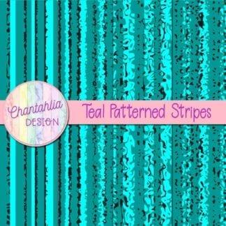 free teal patterned stripes digital papers