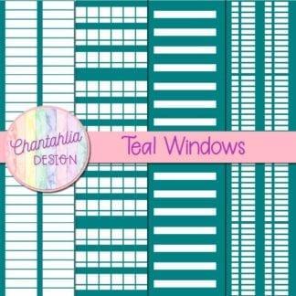 free teal windows digital papers