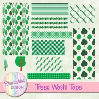 free digital washi tape featuring trees