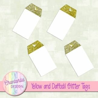 yellow and daffodil glitter tags