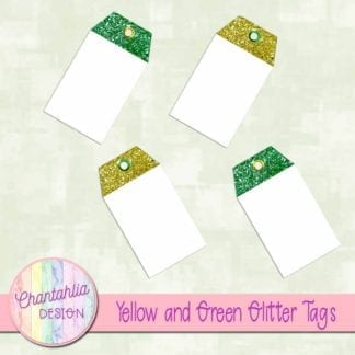 yellow and green glitter tags