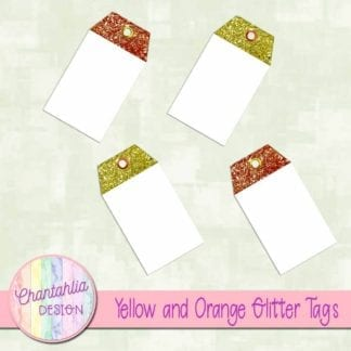yellow and orange glitter tags