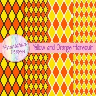 free yellow and orange harlequin digital papers