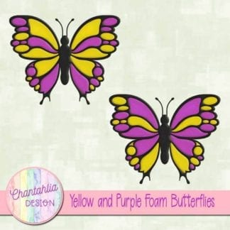 free yellow and purple foam butterflies