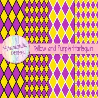 free yellow and purple harlequin digital papers