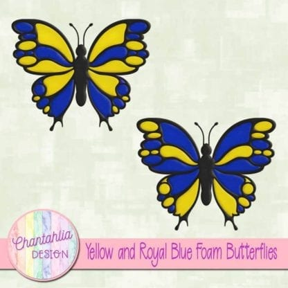 free yellow and royal blue foam butterflies