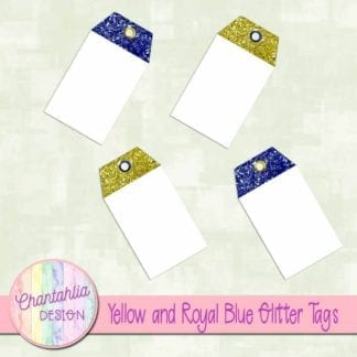 yellow and royal blue glitter tags