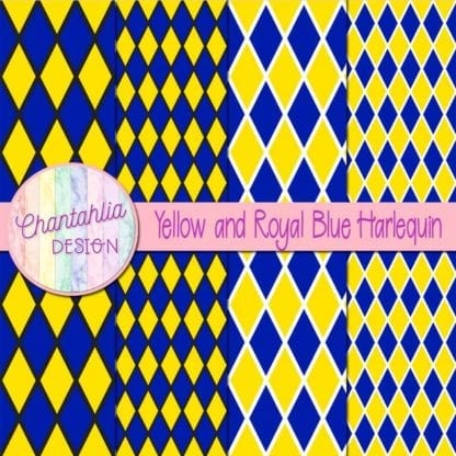 free yellow and royal blue harlequin digital papers