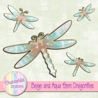 beige and aqua gem dragonflies