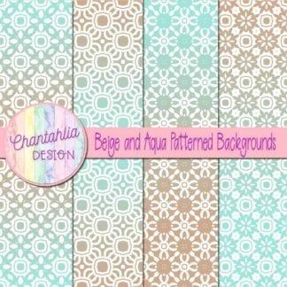 free beige and aqua patterned digital paper backgrounds