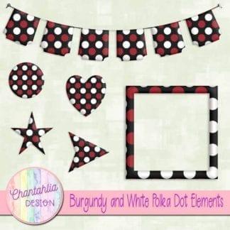 burgundy and white polka dot elements