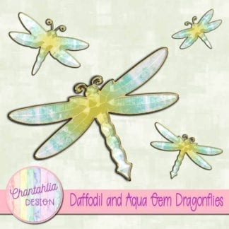 daffodil and aqua gem dragonflies
