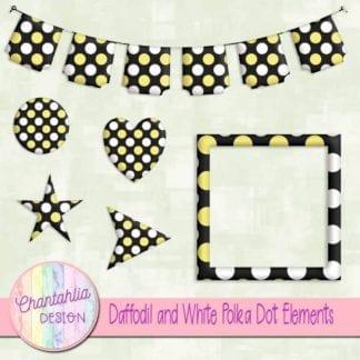 daffodil and white polka dot elements