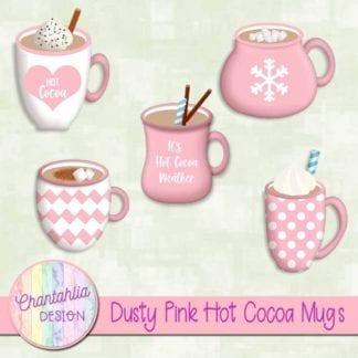 dusty pink hot cocoa mugs