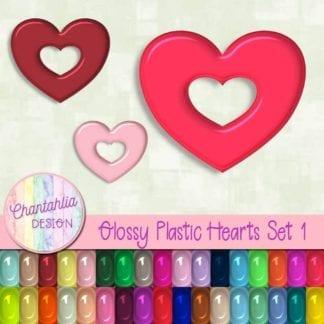 free glossy plastic heart design elements