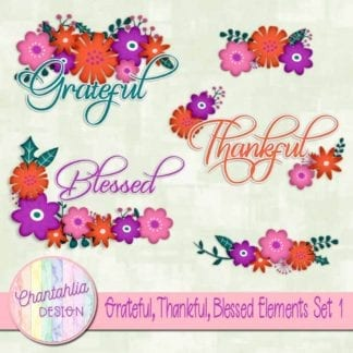 grateful thankful blessed scrapbook elements