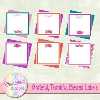 grateful thankful blessed scrapbook labels