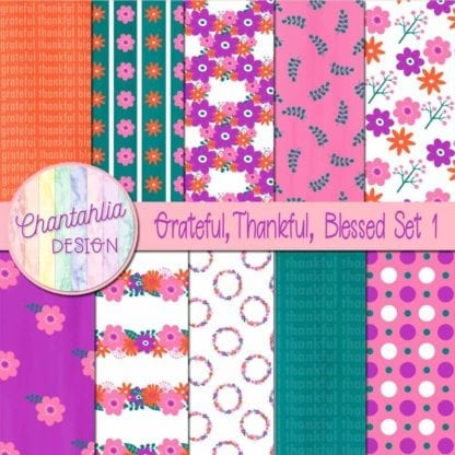 grateful thankful blessed digital papers