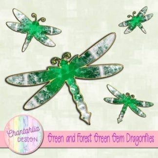 green and forest green gem dragonflies