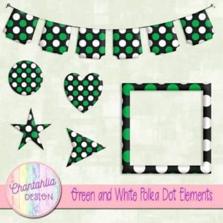 green and white polka dot elements