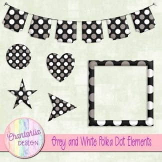 grey and white polka dot elements