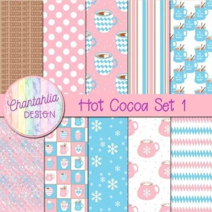 digital papers with hot cocoa designs