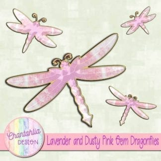 lavender and dusty pink gem dragonflies