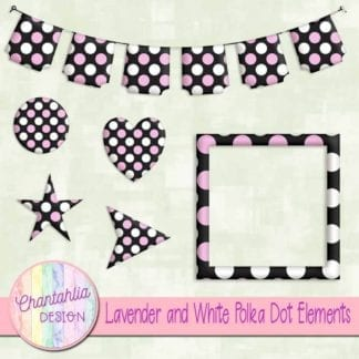lavender and white polka dot elements