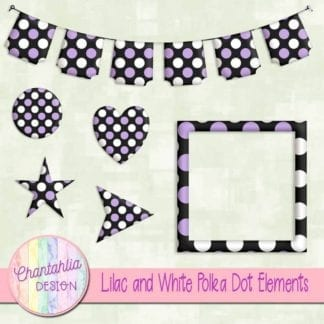 lilac and white polka dot elements