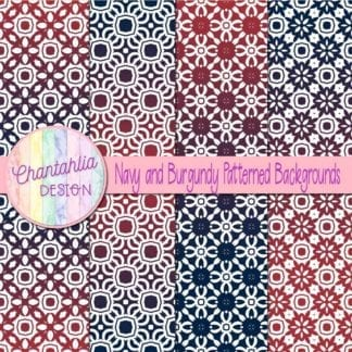 free navy and burgundy patterned digital paper backgrounds