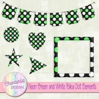 neon green and white polka dot elements