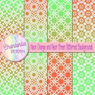 free neon orange and green patterned digital paper backgrounds