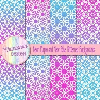 free neon purple and blue patterned digital paper backgrounds