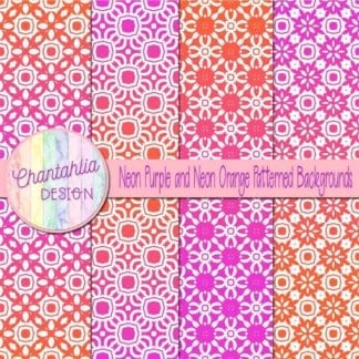 free neon purple and orange patterned digital paper backgrounds