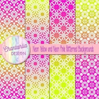 free neon yellow and pink patterned digital paper backgrounds