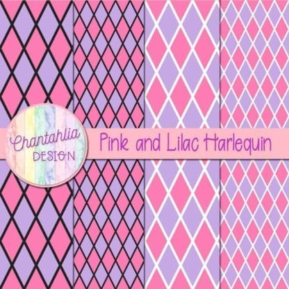 free pink and lilac harlequin digital papers