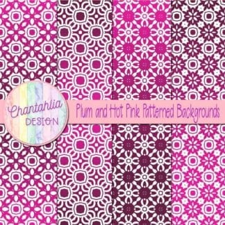 free plum and hot pink patterned digital paper backgrounds