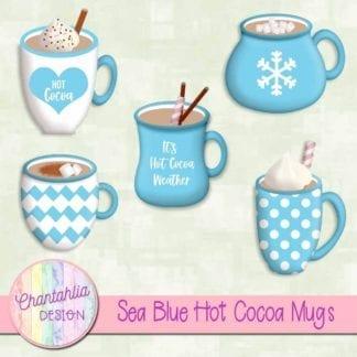 sea blue hot cocoa mugs elements