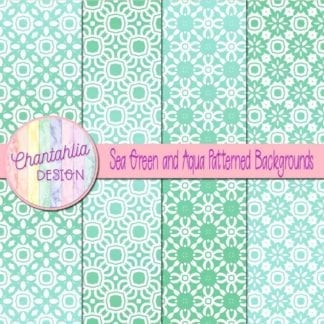 free green and aqua patterned digital paper backgrounds