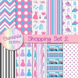 digital papers in a Shopping theme