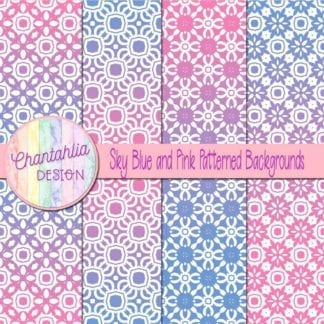 free blue and pink patterned digital paper backgrounds