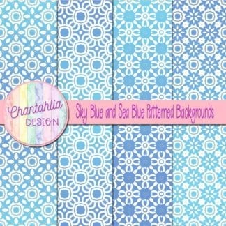 free sky and sea blue patterned digital paper backgrounds