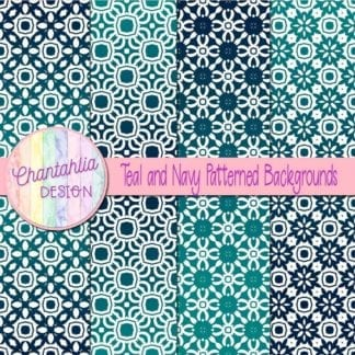 free teal and navy patterned digital paper backgrounds