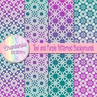free teal and purple patterned digital paper backgrounds