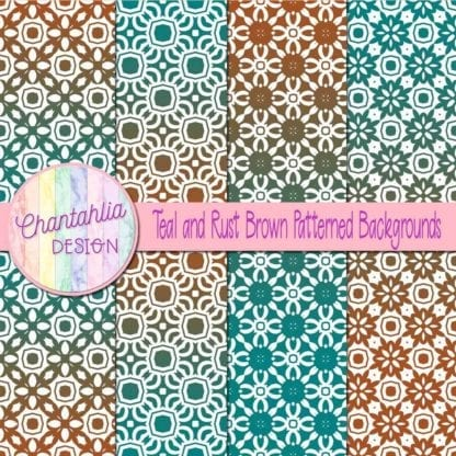 free teal and brown patterned digital paper backgrounds