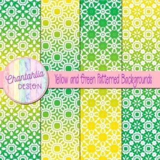 free yellow and green patterned digital paper backgrounds